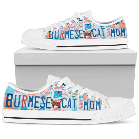 Burmese Cat Print Low Top Canvas Shoes for Women