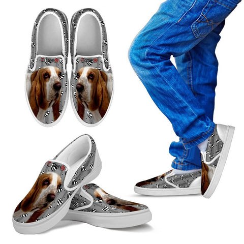 Basset Hound Hearts Print Slip Ons For Kids