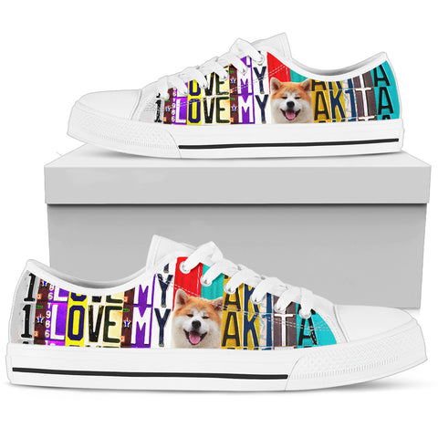 Women's Low Top Canvas Shoes For Lovely Akita Lovers