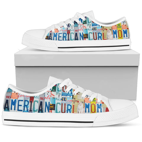 American Curl Cat Print Low Top Canvas Shoes for Women