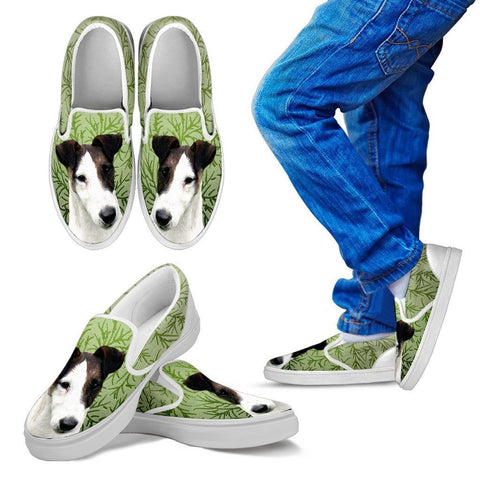 Smooth Fox Terrier Dog Print Slip Ons For KidsExpress Shipping