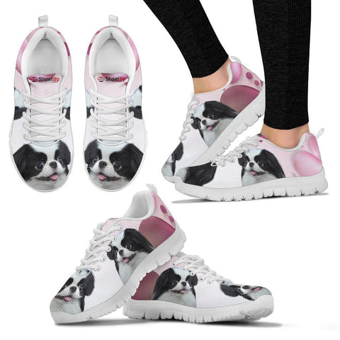 Japanese Chin Pink White Print Running Shoes For Women