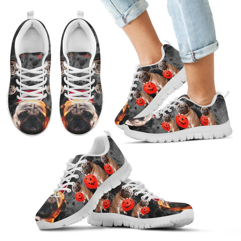 Pug With Happy Halloween Print Running Shoes For Kids