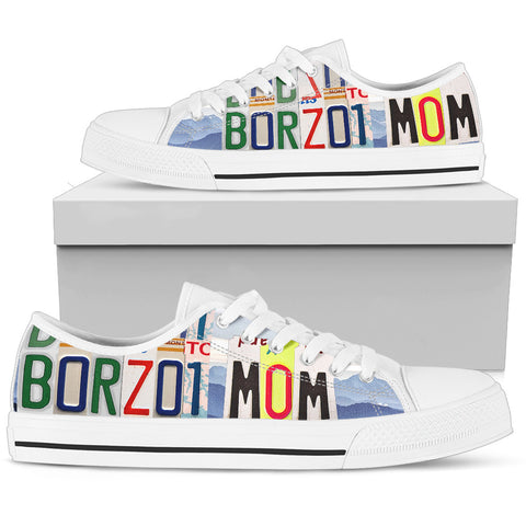 Cute Borzoi Mom Low Top Canvas Shoes For Women