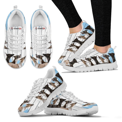 Whippet Dog Blue White Print Sneakers For Women