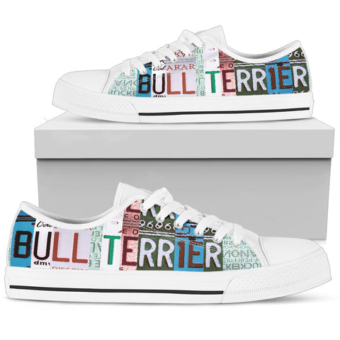 Bull Terrier Print Low Top Canvas Shoes For Women- Limited Edition