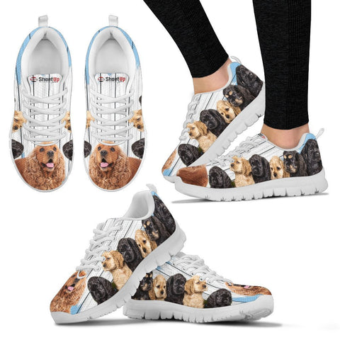 Cocker Spaniel Blue White Print Sneakers For Women