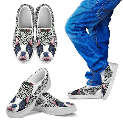 Cute Boston Terrier Print Slip Ons For Kids