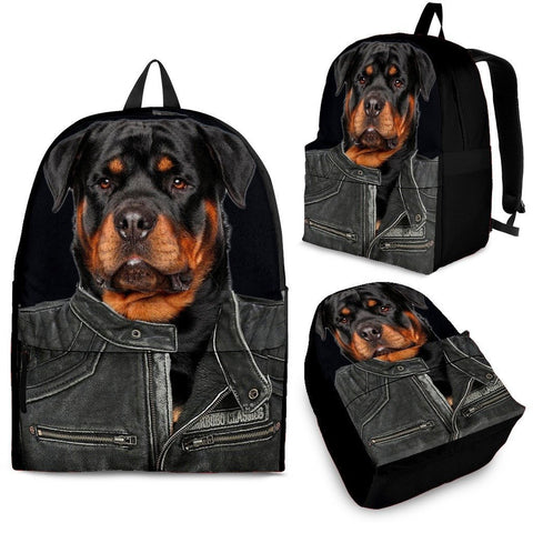 Rottweiler With Jacket Print Backpack Express Shipping