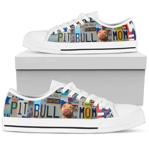 Pit Bull Print Low Top Canvas Shoes for Women