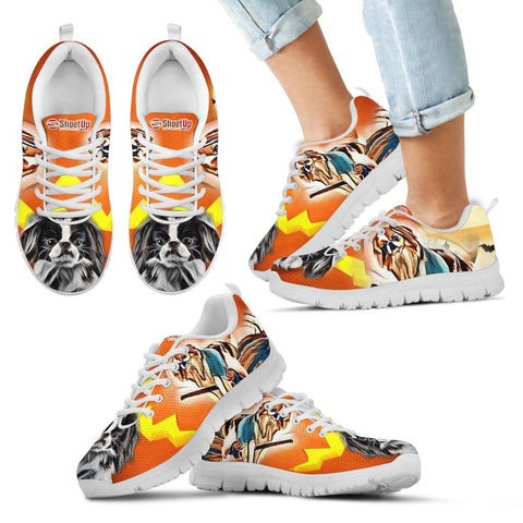 Japanese Chin Halloween Print Running Shoes For Kids