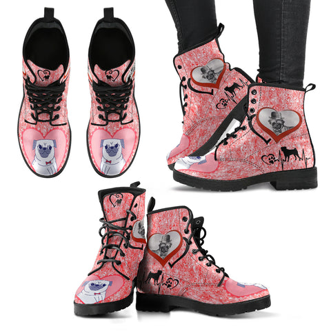 Valentine's Day SpecialPug Dog Print Boots For Women