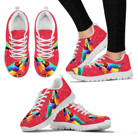 Valentine's Day SpecialGouldian Finch Bird On Red Print Running Shoes For Women