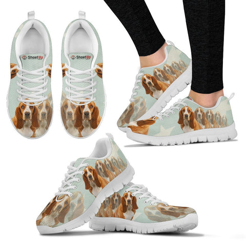 Basset Hound Creamy Power Mints Print Running Shoes For Women