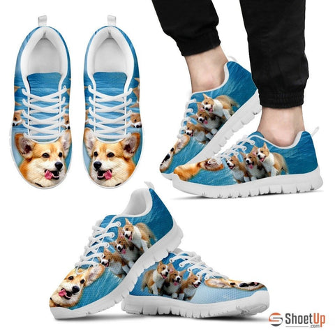 Pembroke Welsh Corgi Print Running Shoes For Men(White)
