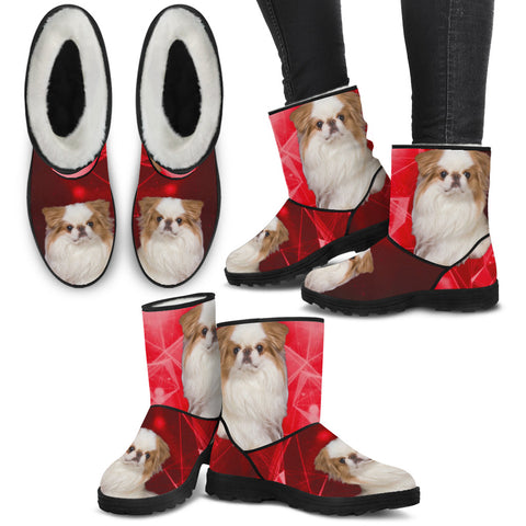 Japanese Chin Print Faux Fur Boots For Women