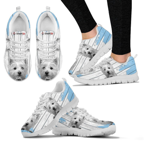 West Highland White Terrier (Westie) Blue White Print Sneakers For Women