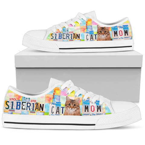 Siberian Cat Mom Print Low Top Canvas Shoes for Women