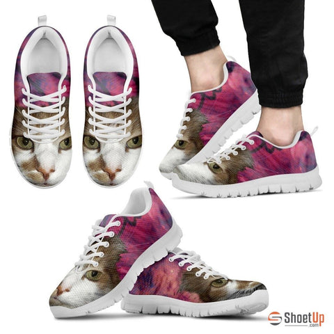Cat Print Pink Running Shoe Men