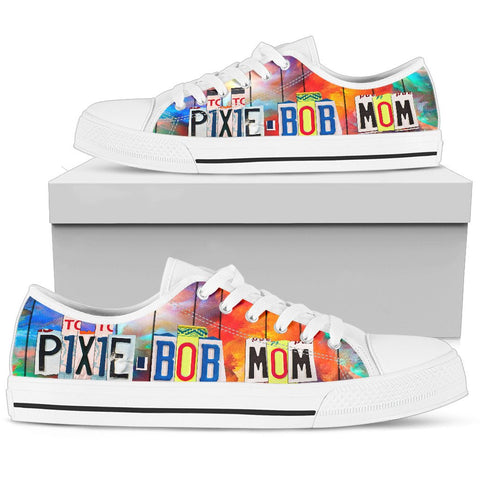 Cute Pixie-bob Mom Print Low Top Canvas Shoes for Women