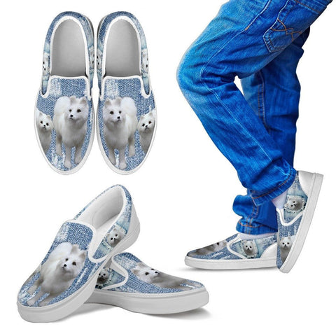 Cute Samoyed Dog Print Slip Ons For KidsExpress Shipping
