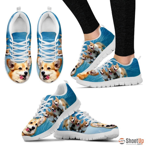 Pembroke Welsh Corgi Print Running Shoes For Women(White)