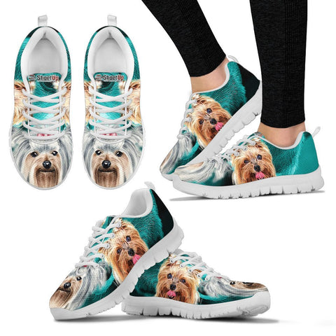 Yorkshire Terrier On Deep Skyblue Print Running Shoes For Women