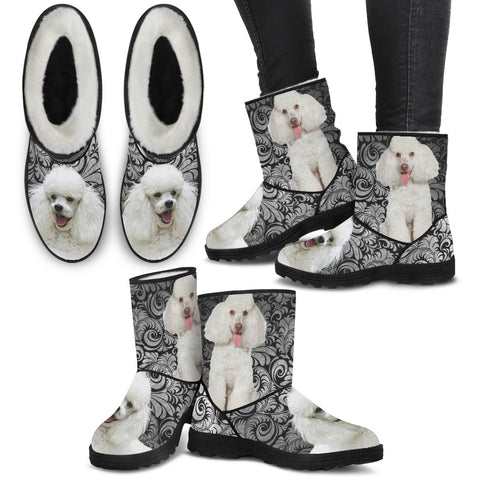 Poodle Print Faux Fur Boots For Women
