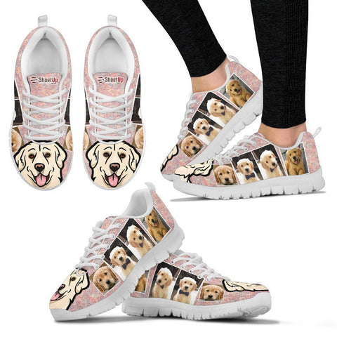 Unique Golden Retriever Collage Print Running Shoes For Women