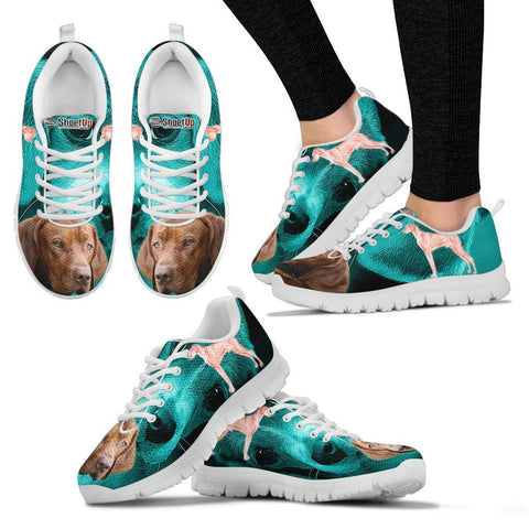 Vizsla Dog On Deep Skyblue Print Running Shoes For Women