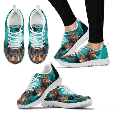 Rottweiler On Deep Skyblue Print Running Shoes For Women