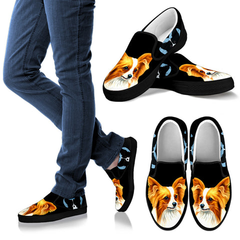 Cute Papillon Dog On Black Print Slip Ons Shoes