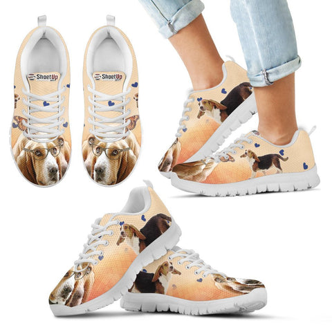 Basset Hound With Glasses Print Running Shoes For Kids