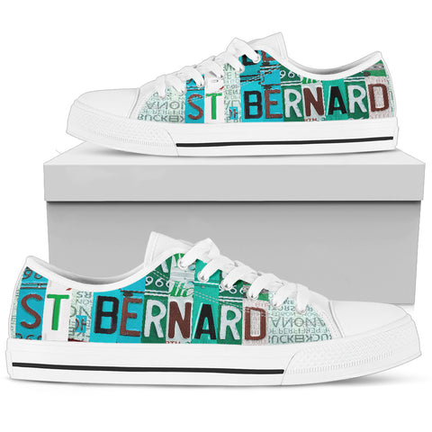 St. Bernard Mom Print Low Top Canvas Shoes For Women- Limited Edition