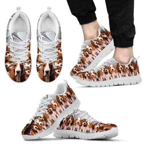 Basset Hound With Puppies Dog Running Shoes For Men