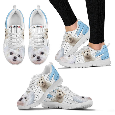 Maltese Blue White Print Sneakers For Women
