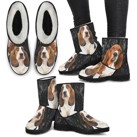 Basset Hound Print Faux Fur Boots For Women