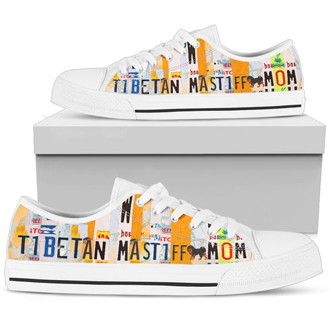 Tibetan Mastiff Mom Print Low Top Canvas Shoes for Women