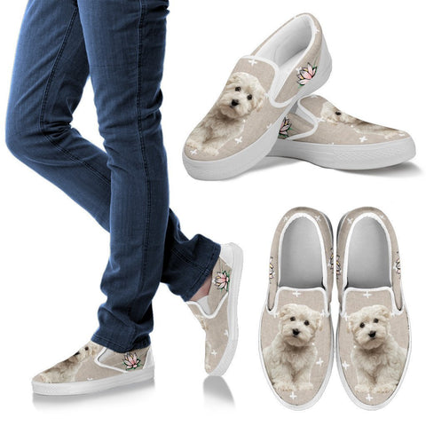 Maltese With Lotus Print Slip Ons For Women