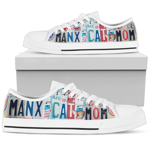 Manx Cat Print Low Top Canvas Shoes for Women
