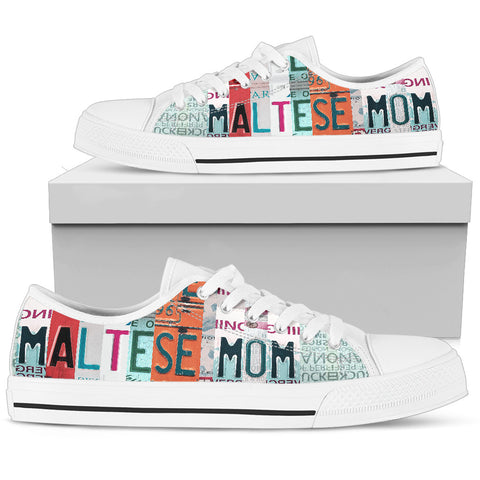 Maltese Mom Print Low Top Canvas Shoes For Women- Limited Edition