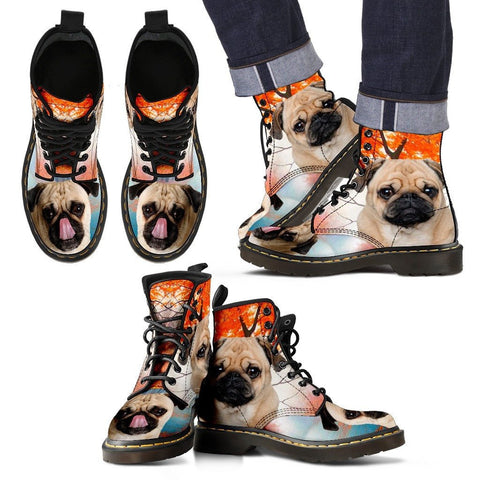 Pug Print Boots For MenExpress Shipping
