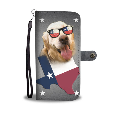Golden Retriever With Glasses Print Wallet CaseTX State