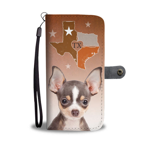 Chihuahua Dog Print Wallet CaseTX State