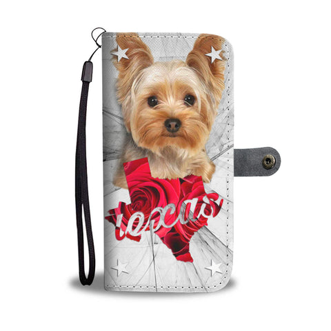 Cute Yorkshire Terrier Print Wallet Case TX State