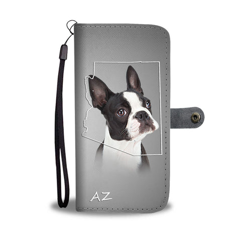 Cute Boston Terrier Print Wallet Case AZ State