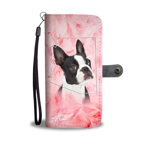 Lovely Boston Terrier Print Wallet Case AZ State