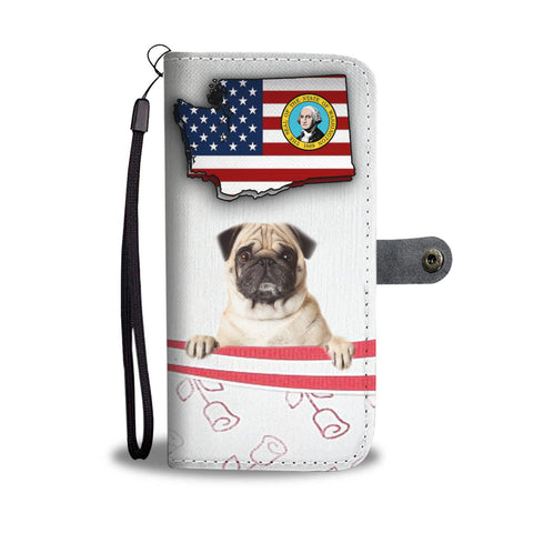 Cute Pug Dog Print Wallet CaseWA State
