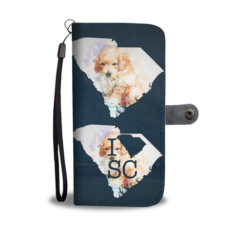 Cute Poodle Dog Art Print Wallet CaseSC State