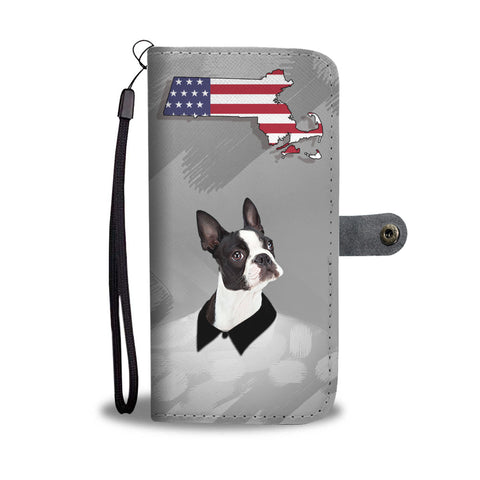 Boston Terrier Print Wallet CaseMA State